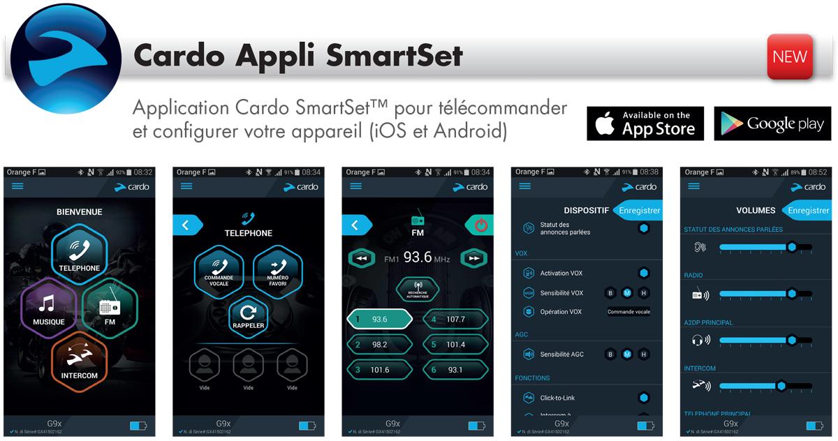 Application smartphone Intercom moto Cardo Scalarider PackTalk